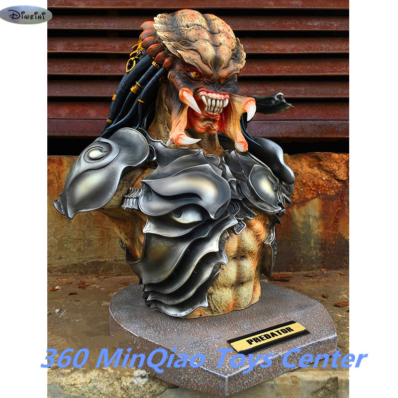 Aliens VS Predator Statue Predator Bust 1:2 Takayuki Takeya Head Portrait Collectible Model Avatar Action Figures Toy WU842 god of war statue kratos ye bust kratos war cyclops scene avatar bloody scenes of melee full length portrait model toy wu843