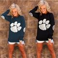 2017 New Fashion Spring Autumn New Large Size T Shirt Women Solid O Neck Casual Tops Bear Paw Printed Long Sleeve Loose Tees