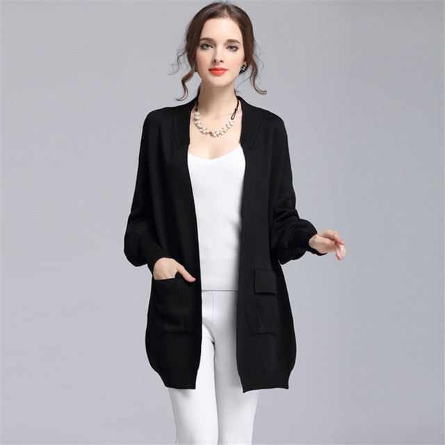 58d645409cd0 2017 Classique Cardigans O-cou De Mode De Base Femmes Tricoté Poche  Cardigan Long en