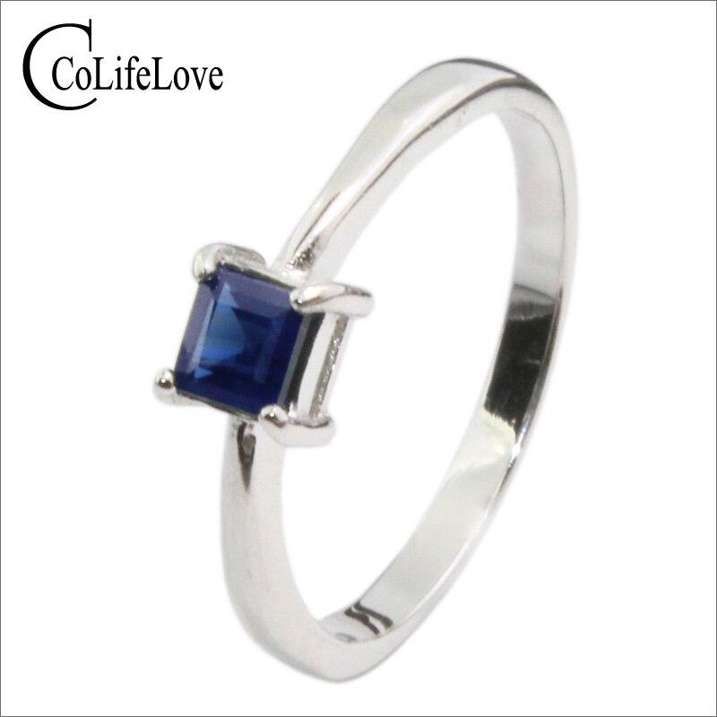 все цены на Simple design sapphire engagement ring 4mm 0.4ct natural sapphire gemstone ring solid 925 silver sapphire wedding ring for girl онлайн