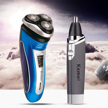 3D Floating Head Rechargeable Electric Shaver Triple Blade Barbeador Men Beard Trimmer Face Ear Nose Trimmer Clipper Hair Trimer