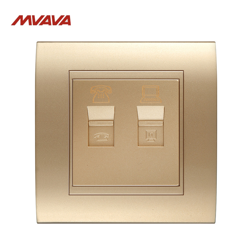 MVAVA RJ45 PC Network + RJ11 TEL Socket Luxury PC Gold Panel Plug Port Universal Phone and Computer Wall Outlet Free Shipping universal three inserted multifunctional tabletop french socket with rj45 black silver free shipping