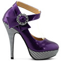 LF30404-2 New Ladies Flower Ankle Strap Stripe Platform Party Pumps