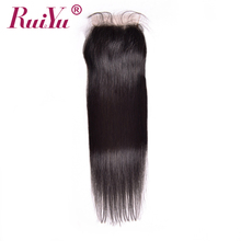 RUIYU Brazilian Straight Hair Lace Closure 4×4 Natural Color 8-24 Non Remy Bleached Knots Lace Human Hair Closure With Baby Hair