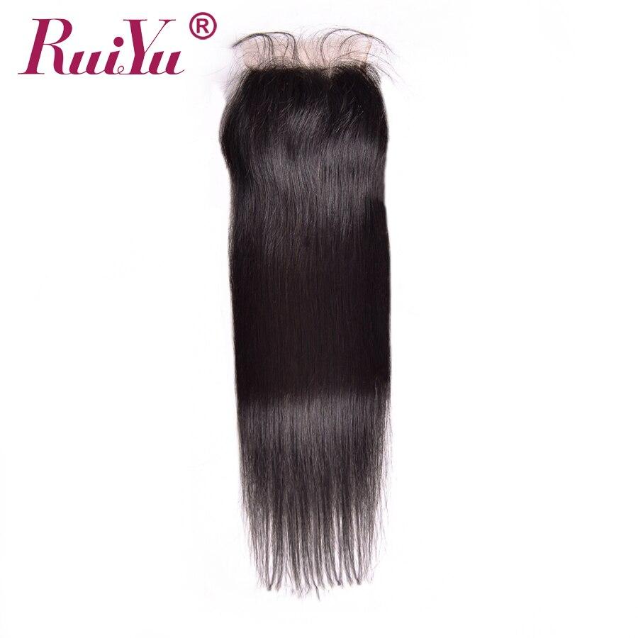 RUIYU Reta Brasileira Do Laço Do Cabelo Encerramento 4x4 Cor Natural 8-24 não Remy Nós Descorados Fechamento Do Laço Do Cabelo Humano Com O Bebê cabelo