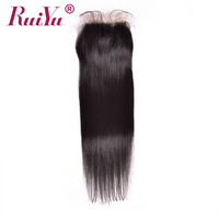RUIYU Brazilian Straight Hair Lace Closure 4x4 Natural Color 8 24 Non Remy Bleached Knots Lace