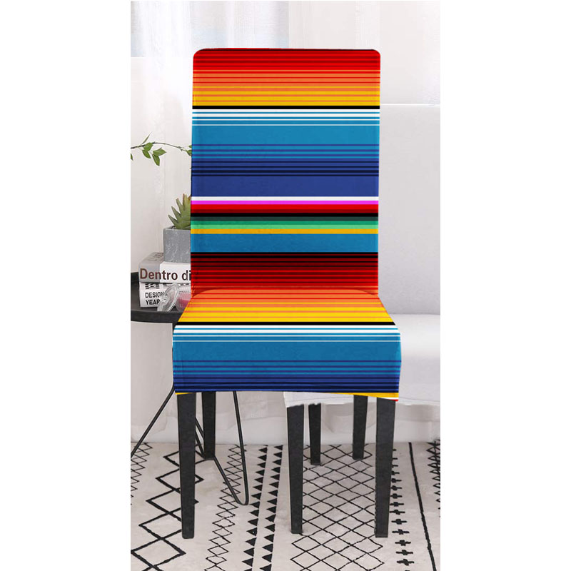 Soft Spandex Fit Stretch Short Dining Room Chair Covers with Printed Pattern Banquet Chair Seat Protector