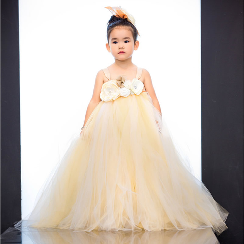 Top quality Fashion Flower Children Girl Dresses Champagne color Flower 2-12Year Cute Draped Ball Gown Wedding party kids Party сверло по дереву kwb 35х95мм форстнера