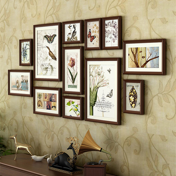 European Vintage Style Wooden Wall Hanging Photo Frames Set 12pcs Nature Pattern Picture Frames Suit Home Decor Photo Frame
