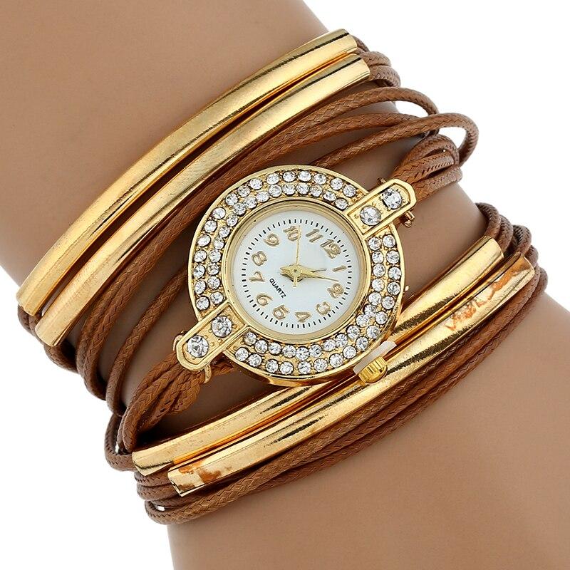 Ouriner 2018 New Fashion Brand Quartz Watch Women Dress Leather Wristwatches Popular Casual Gold Jewelry Bracelet Clock DR004 popular brand watch women gold bracelet weave leather