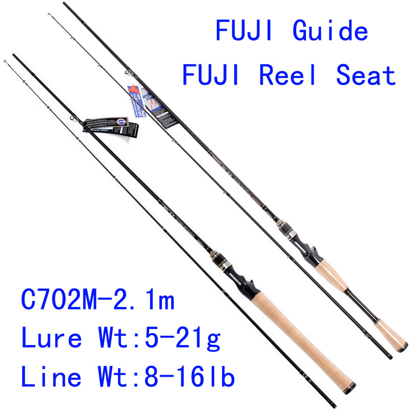 Tsurinoya PRO FLEX C702M-2.1m M Action FUJI Guide Reel Seat Bait Casting Rod High Carbon 3A Cork Hanle Cast Fishing Rod Pesca trulinoya pro flex c652ml 1 95m ml action fuji guide reel seat bait casting rod high carbon 3a cork hanle cast fishing rod pesca