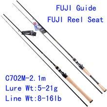 Tsurinoya  PRO FLEX C702M-2.1m M Action  FUJI Guide Reel Seat Bait Casting Rod High Carbon 3A Cork Hanle Cast Fishing Rod Pesca