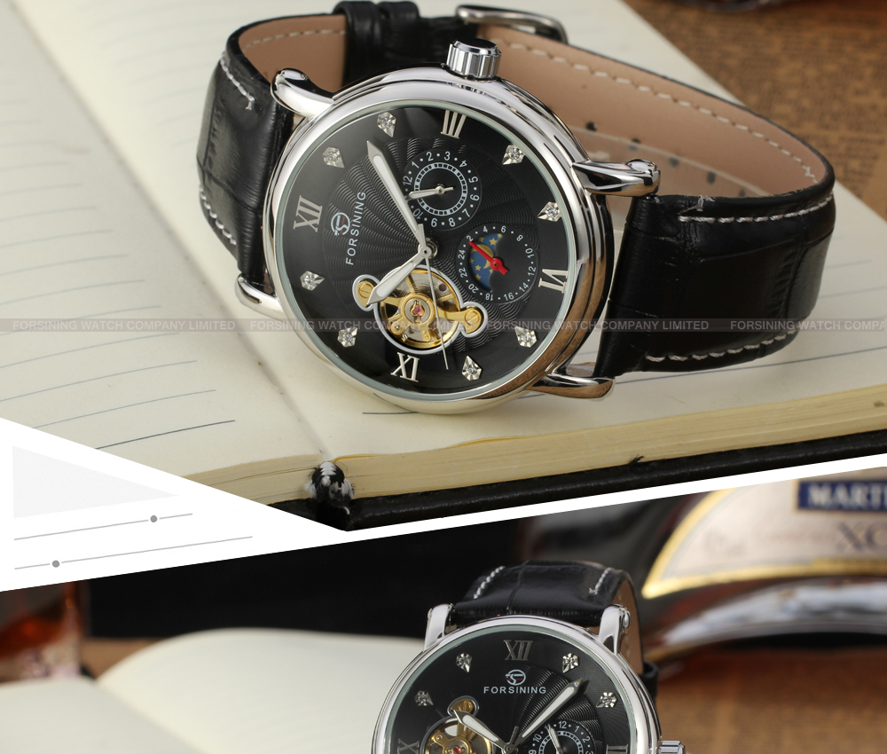 montre automatique for 2016 private label watch with moon phase forsining man saat