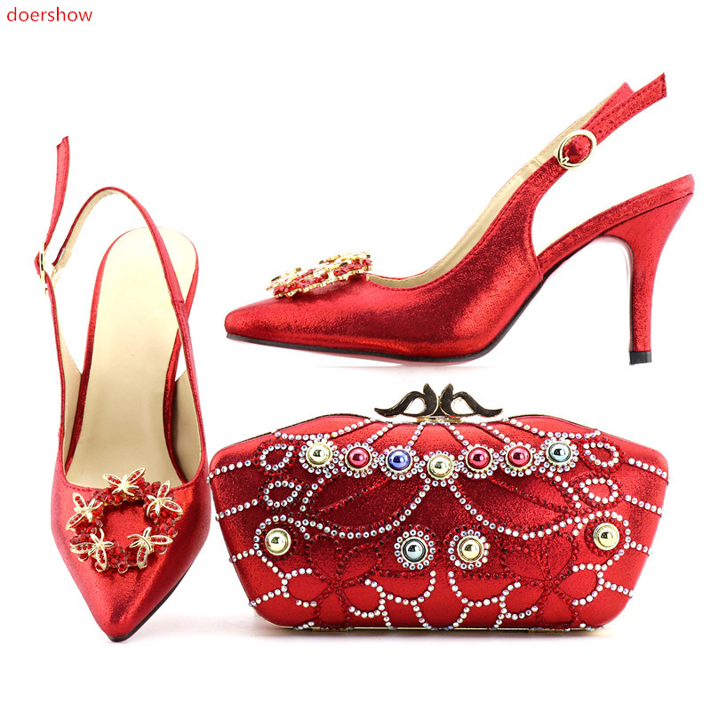 doershow  2018 Italian Shoes With Matching Bags Rhinestones red High Quality African Shoes And Bags Set for Wedding SHV1-79 doershow african shoes and bags fashion italian matching shoes and bag set nigerian high heels for wedding dress puw1 19