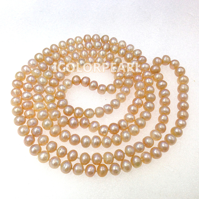 Classic 7mm Semiround Pink Real Freshwater Pearl Sweater Jewelry Necklace.