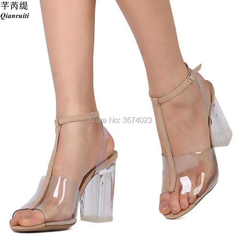 Style Cm Bloc D'été Sandales Toe Cristal Pvc strap Kardashian Stilettos Qianruiti Gelée Talons 9 T Lucite Clair Peep Kim HwnqEUz8