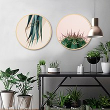 Nordic style solid wood round decorative painting simple modern living room paintings restaurant small fresh hanging