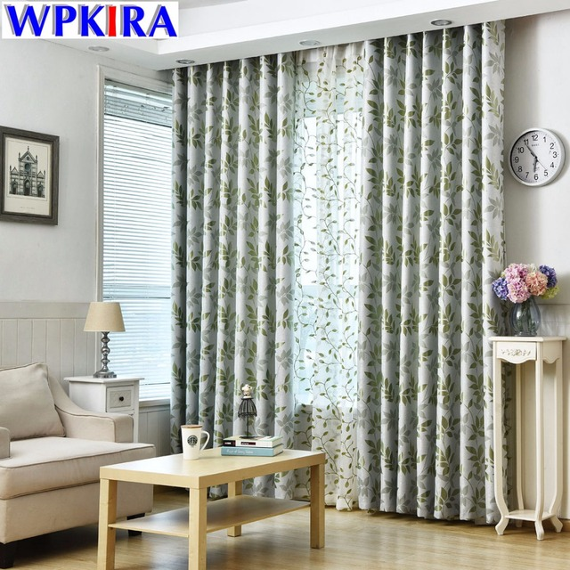 Jacquard American Style Livingroom Green Curtain Shade Cloth Bedroom White  Sheer Window Tulle Drapes Embroidered Leaf