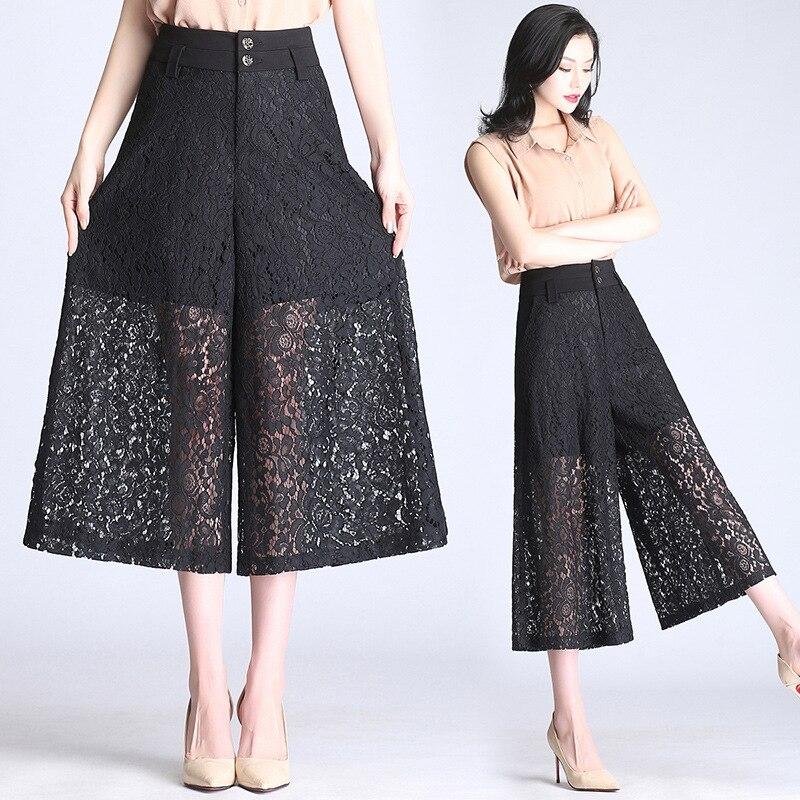 Sexy 2019 Temperamento Siete Ancha Casuales Mujeres Las Pantalones De Negro Mujer Ropa Pierna Verano Moda Encaje C4wqUOU
