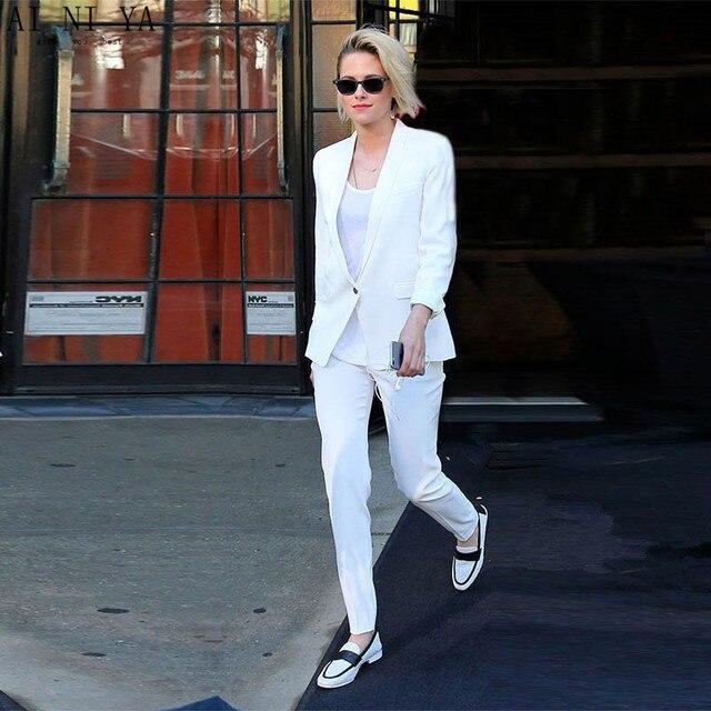 cf4c4abc495 Новый Белый брючный костюм женские костюмы пиджак с Штаны женский деловой  костюм дамы формальные брюки костюмы