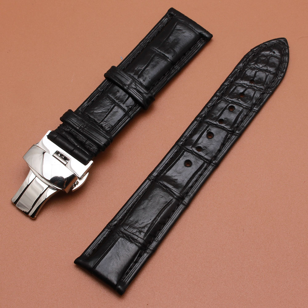 Crocodile Alligator Leather Watchbands Waterproof Wristwatch Band Straps 18mm 19mm 20mm 21mm 22mm With Silver Deployment Clasp