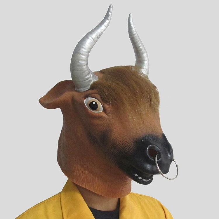 Топ Класс 100% латекс Новинка bull Cow Head Маски для век Хэллоуин Латекс bull маска животного корова маска Костюмы и реквизит для Для женщин Для мужч