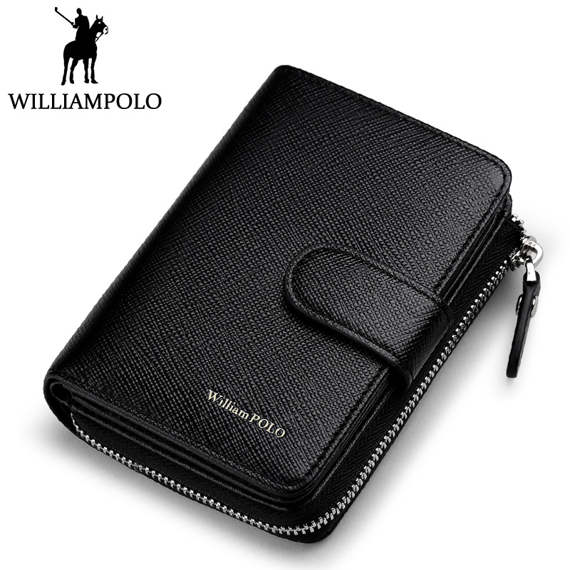 WilliamPOLO 2018 New Business Credit Card Holder Wallet Men Fashion Genuine Leather Wallet Multifunction Zippy Purse Photo Case fashion solid pu leather credit card holder slim wallet men luxury brand design business card organizer id holder case no zipper