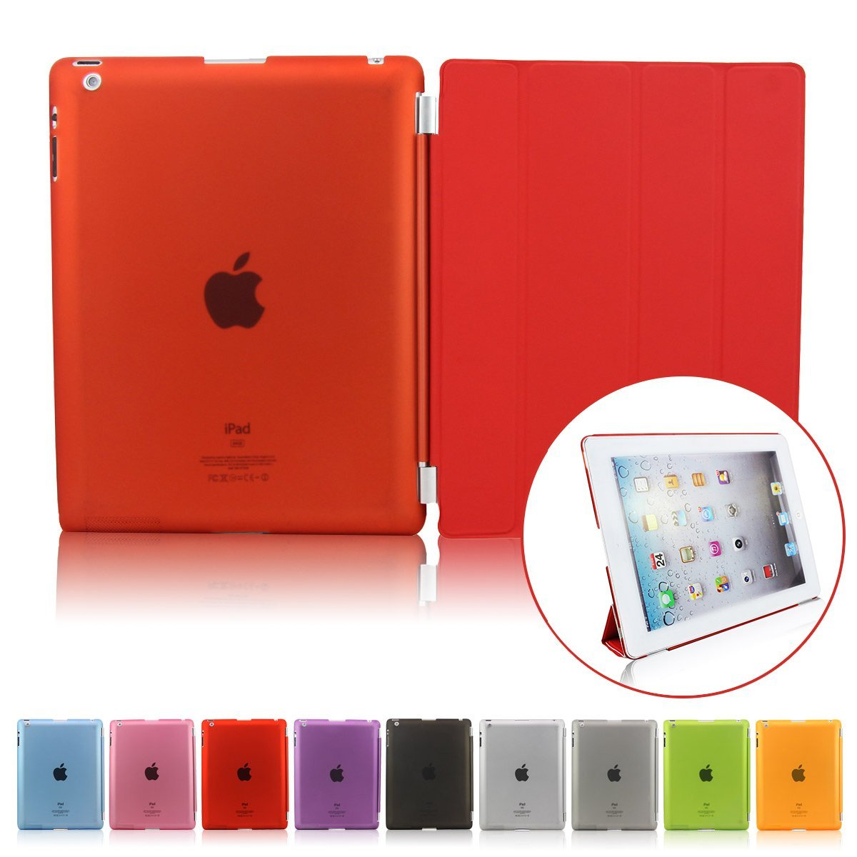 Case For iPad 2 3 4 / iPad Mini 1 2 3 Slim Magnetic PU Leather Smart Cover + Detachable PC Hard Back Auto Wake for iPad 4 Case nice soft silicone back magnetic smart pu leather case for apple 2017 ipad air 1 cover new slim thin flip tpu protective case