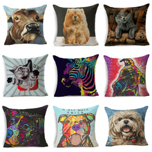 Painting Animals Cushion Cover Cotton Linen Pillowcase Chow Pet Dog Cat Brown Zebra Home Decorative Pillows for Sofa