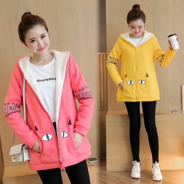 2016 зимние беременных женщин Корейской утолщение куртка повседневная свободные свитера утолщение плюс кашемир пальто мультфильм пальто
