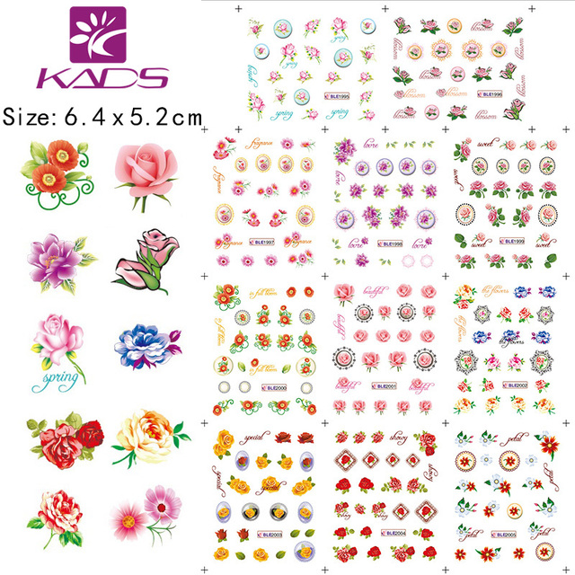 11sheet set beautiful flowers nail art sticker decals serie accessories nail art water transfer nail