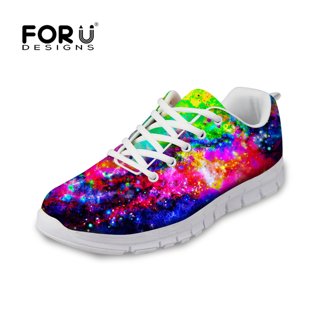 FORUDESIGNS Galaxy Pattern Women Breathable Casual Shoes Fashion Breathable  Lace-up Flats Leisure Female Mesh Shoes Footwear 0b58fb0bf