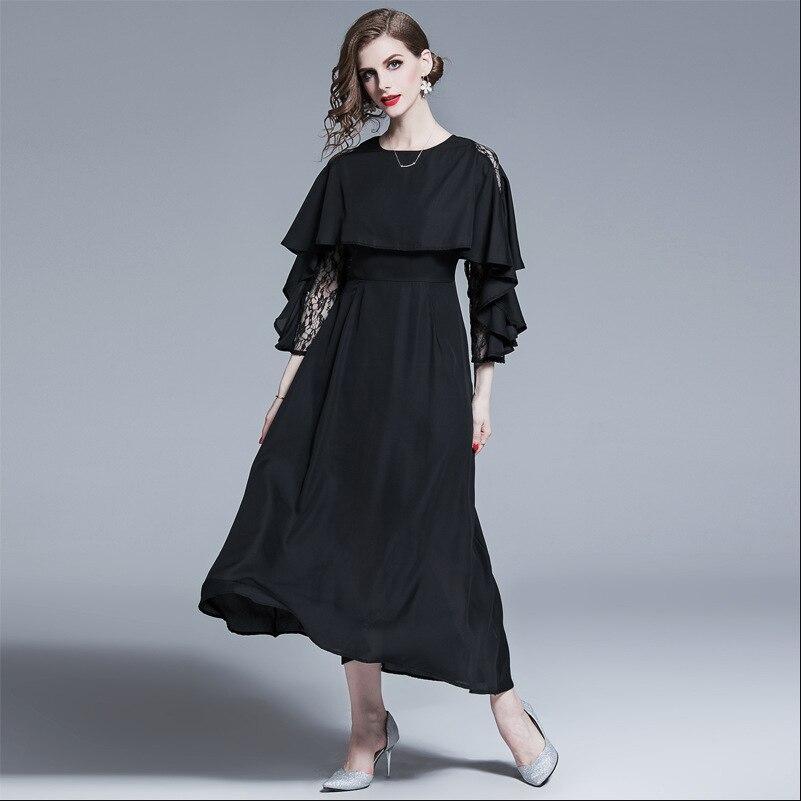 2019 femmes cape dentelle robe de soirée noir solide Designer Maxi robe Preppy Style Slim Fit