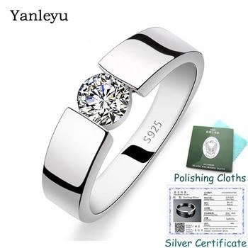 Send Silver Certificate! Yanleyu Fashion Men Women Wedding Ring Jewelry 925 Sterling Silver 5mm Cubic Zirconia Ring Gift PR306