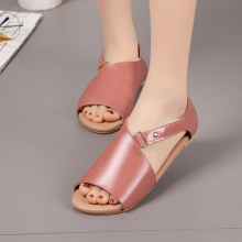 Summer Sandals Women Plus Size Flats Female Casual Peep Toe Shoes PU Leather Slip On Flat Hook Sandals Leisure Solid Footwear women flat shoes bandage bohemia leisure lady sandals peep toe outdoor sandals 0411 drop shipping