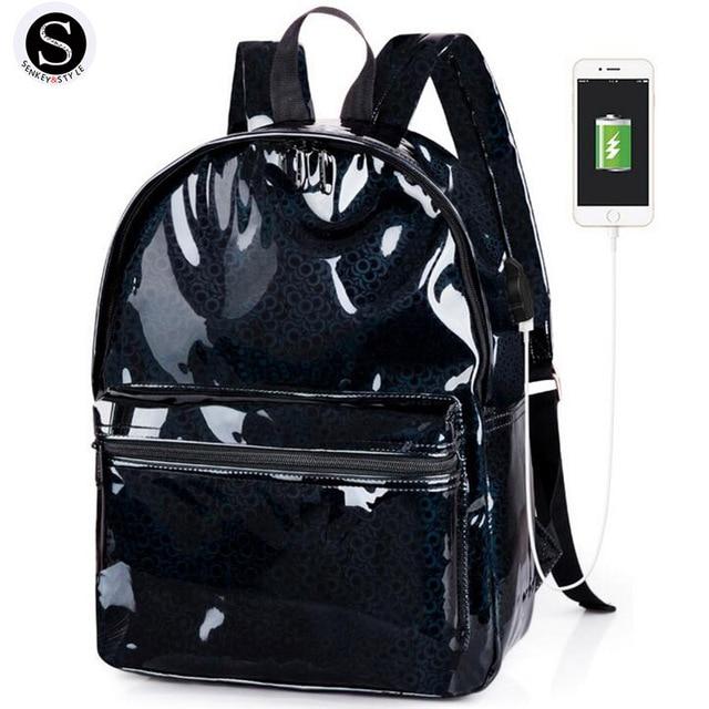 Senkey Style Fashion Small Women Backpack Silver Laser Pu USB charging School Bags For Teenagers Waterproof Women Shoulder Bag