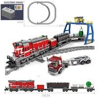 KAZI Battery Powered Electric City Legoing Train Rail Cargo Technic Building Blocks Bricks Christmas Gift DIY Toys For Children