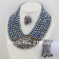 2014 New Fashion Splendid 8 Strands Baroque Freshwater Pearl Jewelry Set Wedding Jewelry Set Bridal Jewelry