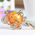 Orange Pumpkin Carriage Cute Crystal Charm Purse Handbag Car Key Keyring Keychain Party Wedding Birthday Gift