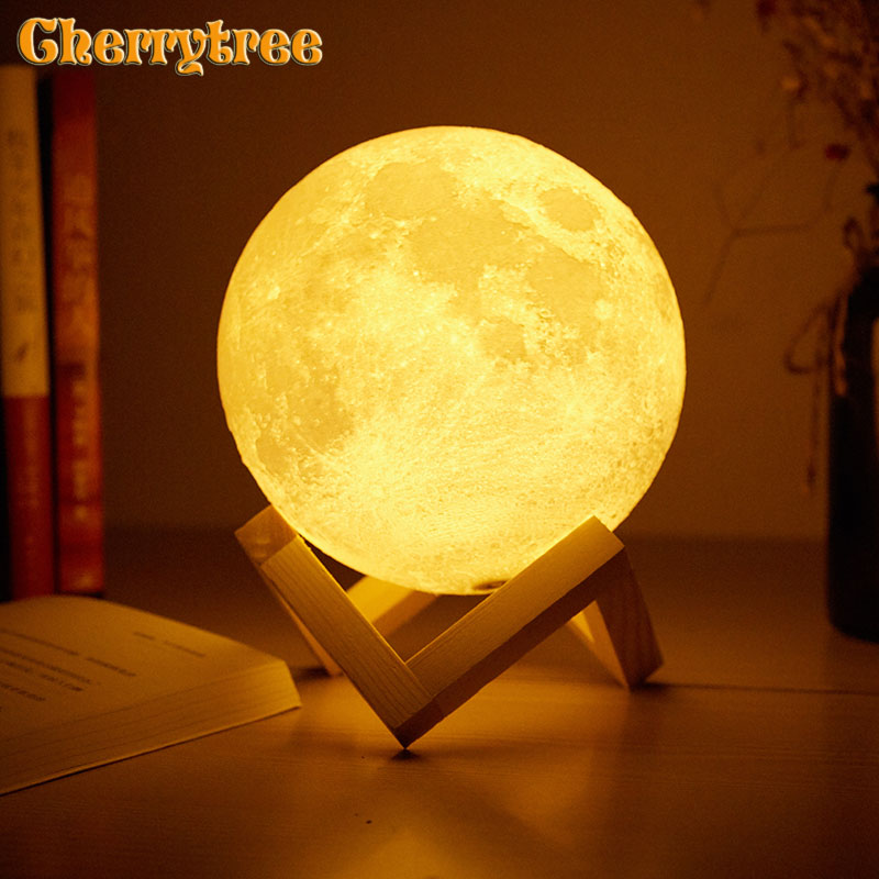 Search For Flights Desk Lamp Night Light Table Light 3d Print Moon Lamp Dimmable Touch 16 Colors Usb Home Decoration Birthday Gift Christmas Gifts Choice Materials
