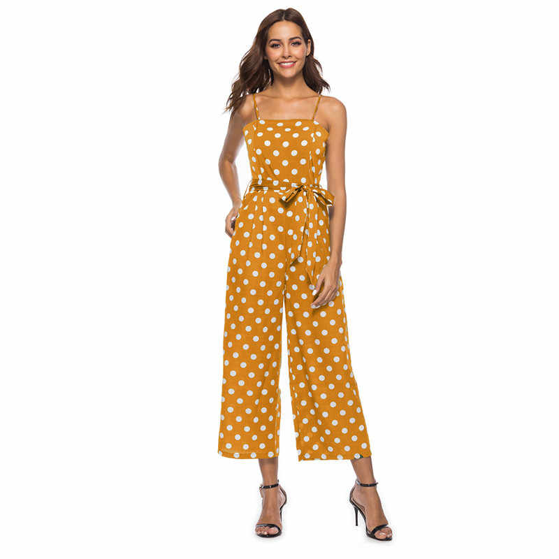 casual spaghetti strap polka dot rompers womens jumpsuit summer open back pne piece wide leg jumpsuits plus size overall DC18627