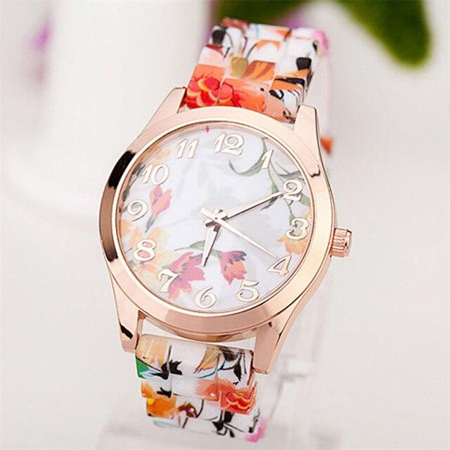94a26373638b Splendid Silicone Floral Band Watches Women Rubber Strap Watch Reloj  Pulsera Mujer Quartz Analog Sports Wristwatch Montre Femme