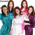 RB032  2016 New Silk Kimono Robe Bathrobe Women Silk Bridesmaid Robes Sexy Navy Blue Robes Satin Robe Ladies Dressing Gowns