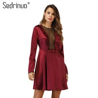 Sedrinuo Fashion Women Nightwear Satin Mesh Patchwork Long Sleeve Sexy Sleepwear Women Clothes 2018 Bodycon Sleep Dress
