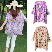 New 2017 Summer Loose Smock Round neck Chiffon Blouses Slim Women Blouse Wear Floral Printing shirt Bat sleeves