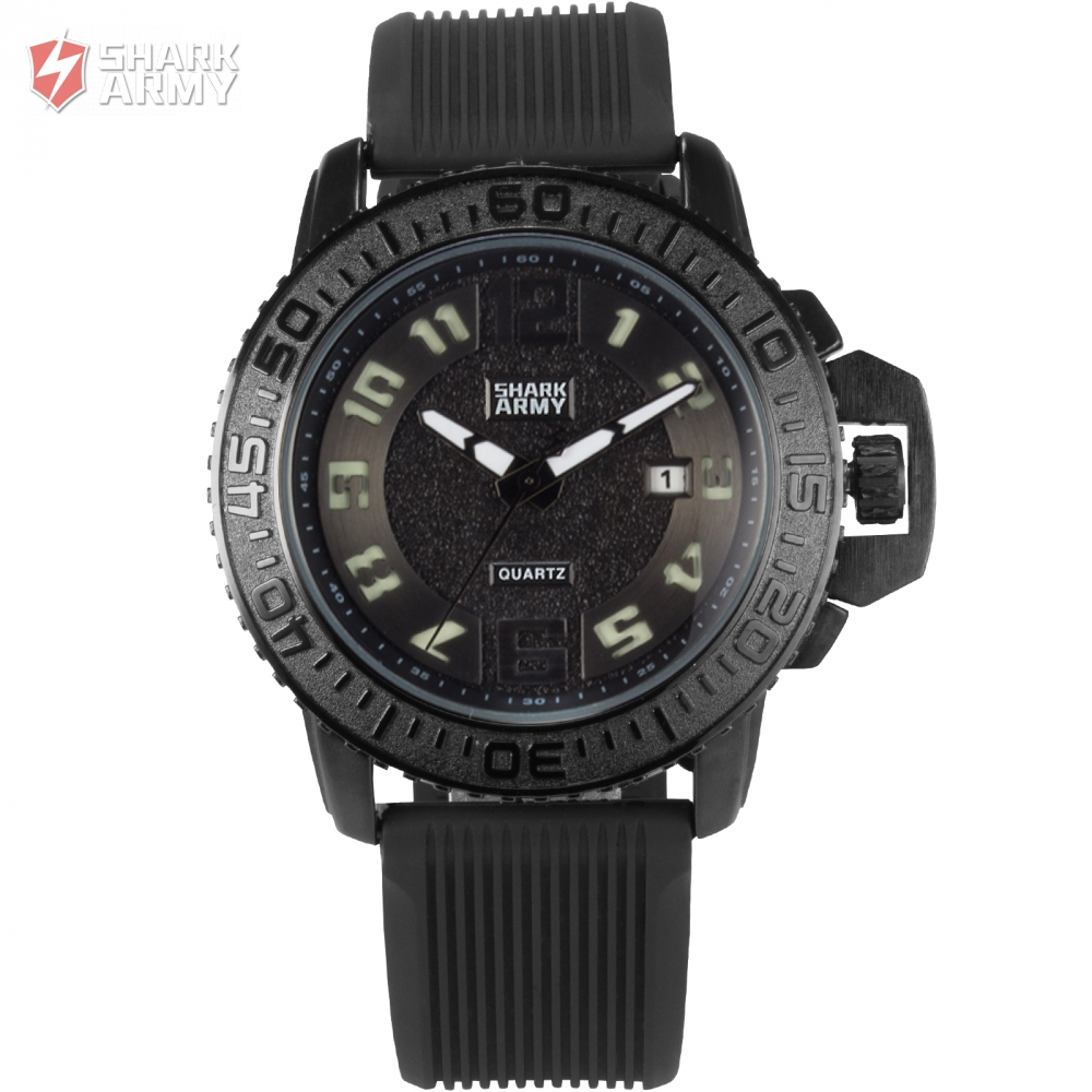 Shark Army Brand Watch Black White Auto Date Silicone Strap Military Relogio Masculino Men Quartz Sport Wristwatch Gift/ SAW180 goblin shark sport watch 3d logo dual movement waterproof full black analog silicone strap fashion men casual wristwatch sh165