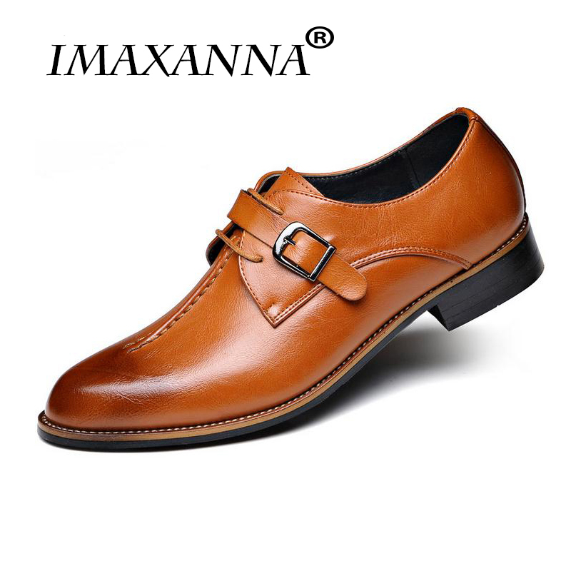 IMAXANNA New Men Dress Shoes Formal Wedding Genuine Leather Shoes Retro Brogue Business Office Men's Flats Oxfords For Men