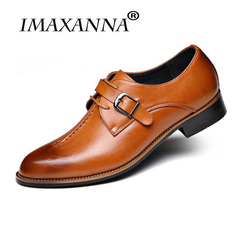 IMAXANNA ใหม่ผู้ชายรองเท้างานแต่งงานอย่างเป็นทางการของแท้รองเท้าหนัง Retro Brogue สำนักงานธุรกิจผู้ชาย Oxfords สำหรับชาย