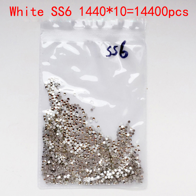 Wholesale Rhinestones New White ss6 14400 pcs 2.0mm Crystal Color Non Hotfix Rhinestones For Nails Flatback Nail Art Decorations 2016 new arrive resin diy rhinestones for nail art 2 6mm white ab color nail design glitter decorations flatback non hotfix