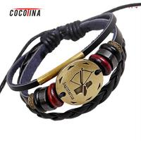 12 Constellation Bracelet Retro British Wind Hand-woven Couples Bracelet Fashion Unisex Leather Alloy Bracelet COCOTINA YM0059 #